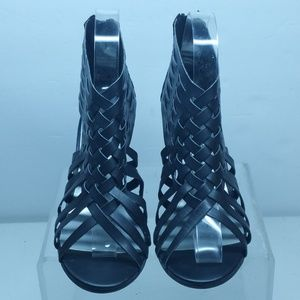 American Eagle black caged wedges